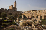 Construction material lies on the grounds at the Tower of David Museum in the Old City of Jerusalem, Wednesday, Oct. 28, 2020. Jerusalem's ancient citadel is devoid of tourists due to the pandemic and undergoing a massive restoration and conservation project. (AP Photo/Maya Alleruzzo)