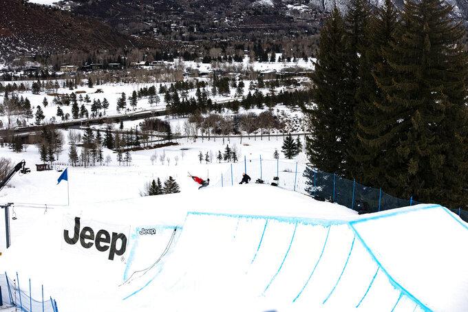 Jesper Tjader practices for knuckle huck at the Winter X Games on Thursday, Jan. 28, 2021, in Aspen, Colo. (Kelsey Brunner/The Aspen Times via AP)