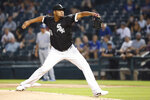 Chicago White Sox starting pitcher Ivan Nova delivers during the first inning of a baseball game against the Kansas City Royals Tuesday, Sept. 10, 2019, in Chicago. (AP Photo/Charles Rex Arbogast)