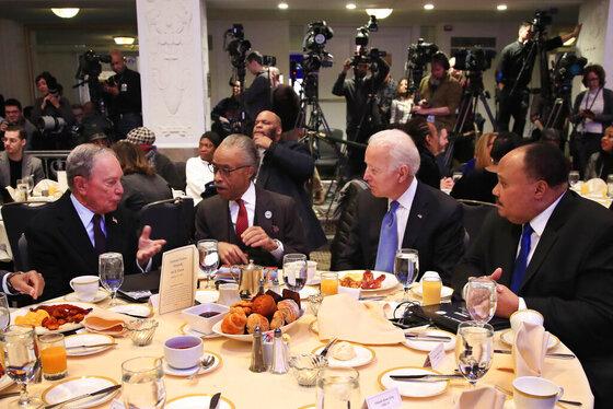 Michael Bloomberg, Al Sharpton, Joe Biden, Martin Luther King Jr III