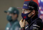 Red Bull driver Max Verstappen of the Netherlands pauses during a press conference ahead of Sunday's Formula One Turkish Grand Prix at the Intercity Istanbul Park circuit in Istanbul, Turkey, Thursday, Oct. 7, 2021.(Sedat Suna/Pool Photo via AP)