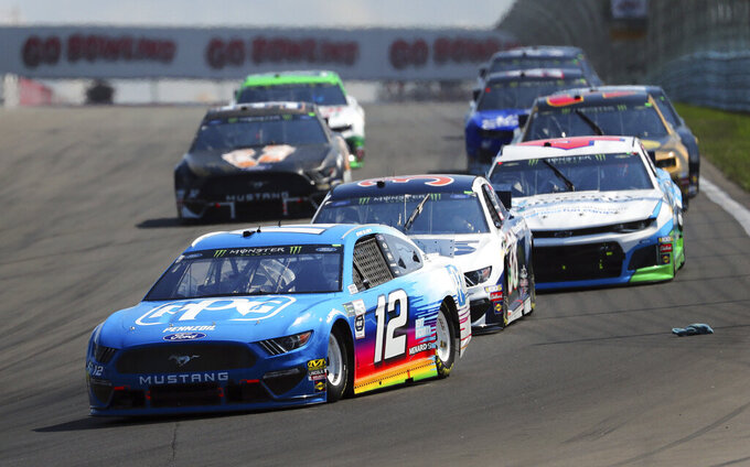 Ryan Blaney heads into Turn 1 during a NASCAR Cup Series auto race at Watkins Glen International, Sunday, Aug. 4, 2019, in Watkins Glen, N.Y. (AP Photo/John Munson)