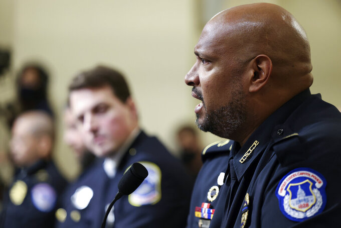 U.S. Capitol Police Sgt. Harry Dunn testifies during the House select committee hearing on the Jan. 6 attack on Capitol Hill in Washington, Tuesday, July 27, 2021. (Jim Lo Scalzo/Pool via AP)