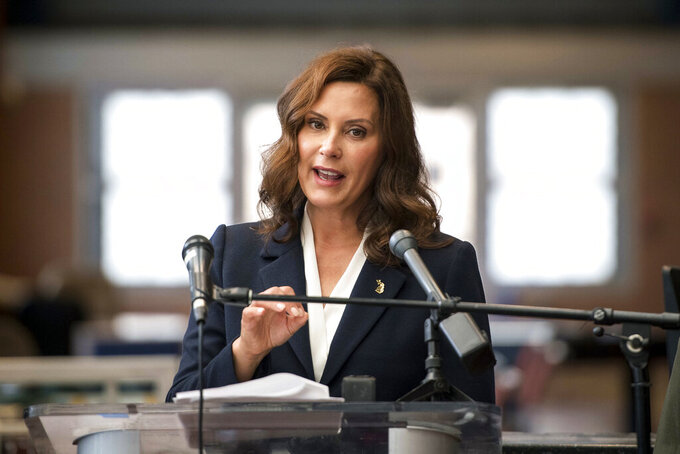 FILE - In this Aug. 16, 2021, file photo, Michigan Gov. Gretchen Whitmer speaks during a news conference in Detroit. Gov. Whitmer on Tuesday, Sept. 14, 2021, proposed spending $1.4 billion in federal pandemic funding to expand health care and infrastructure, including to bolster access to mental health services, replace state psychiatric hospitals and build a new public health lab.(Nic Antaya/Detroit News via AP, File)