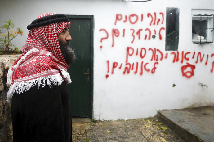 Palestinians visit vandalized mosque in the Arab neighborhood of Beit Safafa, in east Jerusalem, Friday, Jan. 24, 2020. Israeli police said Friday they are investigating after a