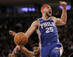 FILE - In this Jan. 13, 2019, file photo, Philadelphia 76ers' Ben Simmons reacts after dunking during the first half of an NBA basketball game against the New York Knicks in New York. A person familiar with the situation says the Philadelphia 76ers and star guard Ben Simmons have agreed to a $170 million, five-year contract extension. The max deal is the latest big commitment by the team. The person spoke to The Associated Press on condition of anonymity Monday, July 15, 2019, because the contract is not official. (AP Photo/Seth Wenig, File)