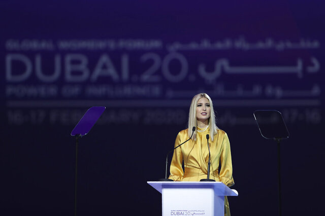 Ivanka Trump, the daughter and senior adviser to U.S. President Donald Trump, delivers a keynote address at Global Women's Forum in Dubai, United Arab Emirates, Sunday, Feb. 16, 2020. (AP Photo/Kamran Jebreili)
