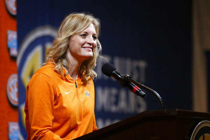 Tennessee head coach Kellie Harper speaks during the Southeastern Conference NCAA college basketball media day, Thursday, Oct. 17, 2019, in Birmingham, Ala. (AP Photo/Butch Dill)