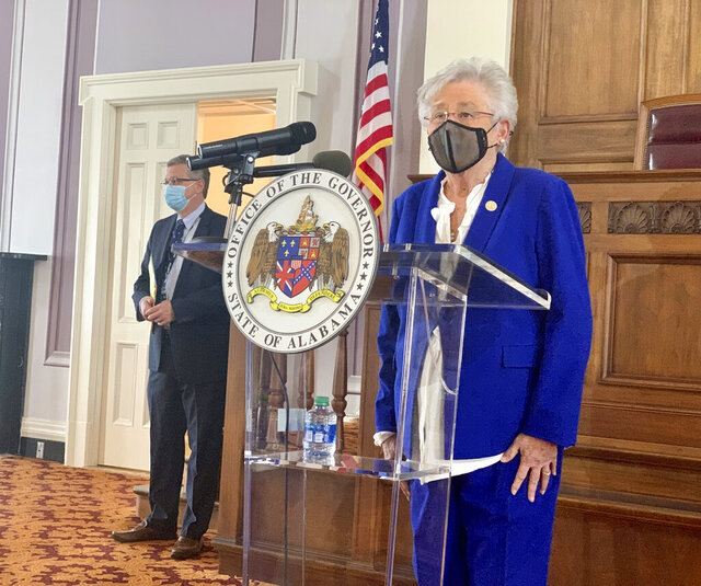 Alabama Gov. Kay Ivey announces the extension of a statewide face mask order to combat COVID-19 during a press conference at the Alabama Capitol, Thursday, Jan. 21, 2021, in Montgomery, Ala. (AP Photo/Kim Chandler)