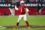 Arizona Cardinals quarterback Kyler Murray (1) throws against the Cleveland Browns during the first half of an NFL football game, Sunday, Dec. 15, 2019, in Glendale, Ariz. (AP Photo/Rick Scuteri)