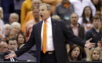 Tennessee head coach Rick Barnes reacts in the second half against Iowa during a second-round men's college basketball game in the NCAA Tournament in Columbus, Ohio, Sunday, March 24, 2019. (AP Photo/Tony Dejak)