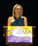 U.S. Sen.-elect Kyrsten Sinema, D-Ariz., declares victory over Republican challenger U.S. Rep. Martha McSally, Monday, Nov. 12, 2018, in Scottsdale, Ariz. Sinema won Arizona's open U.S. Senate seat in a race that was among the most closely watched in the nation, beating McSally in the battle to replace GOP Sen. Jeff Flake. (AP Photo/Rick Scuteri)