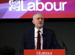FILE - In this file photo dated Friday, Feb. 24, 2017, leader of Britain's opposition Labour Party Jeremy Corbyn delivers a speech in London.  Britain's Labour Party said Tuesday Nov. 12, 2019,  it has experienced a