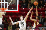 Florida State guard M.J. Walker (23) shoots over Purdue center Matt Haarms (32) in the first half of an NCAA college basketball game at the Emerald Coast Classic in Niceville, Fla., Saturday, Nov. 30, 2019. (AP Photo/Mark Wallheiser)