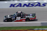 Christian Eckes (18) drives a lap during a NASCAR Truck Series auto race at Kansas Speedway in Kansas City, Kan., Saturday, July 25, 2020. (AP Photo/Charlie Riedel)