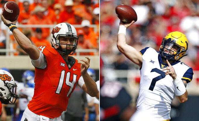 FILE - At left, in a Sept. 15, 2018, file photo, Oklahoma State quarterback Taylor Cornelius (14) passes during an NCAA college football game against Boise State, in Stillwater, Okla. At right, in a Sept. 29, 2018, file photo, West Virginia's Will Grier (7) throws a pass during the first half of an NCAA college football game against Texas Tech, in Lubbock, Texas. Taylor Cornelius, OSU's fifth-year senior and first-time starter, has thrown for 312 yards per game with 23 touchdowns. WVU's Will Grier, the Heisman Trophy contender, has thrown for 329 yards a game with 31 TDs. No. 7 West Virginia plays at Oklahoma State on Saturday, Nov. 17. (AP Photo/File)