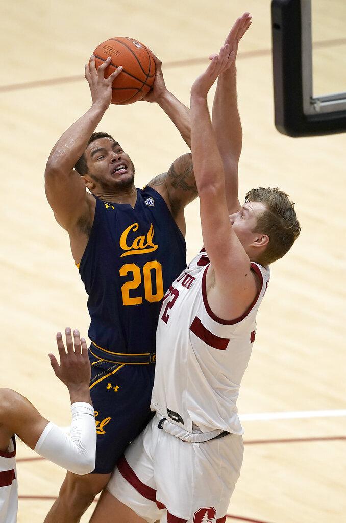 California guard Matt Bradley (20) shoots over Stanford forward Lukas Kisunas (32) during the second half of an NCAA college basketball game in Stanford, Calif., Sunday, Feb. 7, 2021. (AP Photo/Tony Avelar)