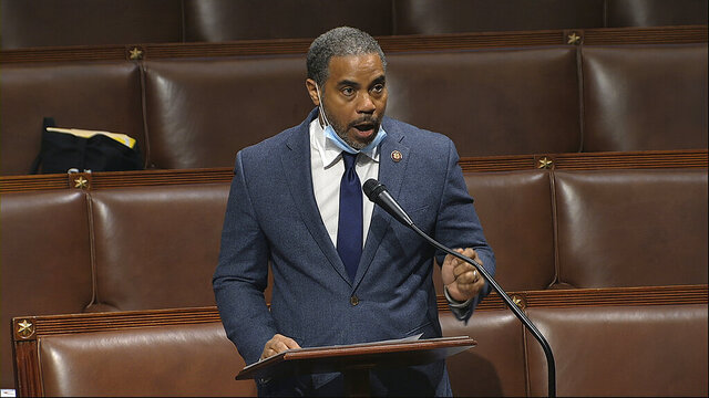 FILE - In this Thursday, April 23, 2020, file image taken from video, Rep. Steven Horsford, D-Nev., speaks on the floor of the House of Representatives at the U.S. Capitol in Washington. Horsford, on Saturday, May 16, acknowledged he had an extramarital affair with a woman who said the on-and-off relationship began in 2009 before ending last September. A spokeswoman for Horsford indicated he does not plan to resign, as at least one Republican opponent suggested. (House Television via AP, File)