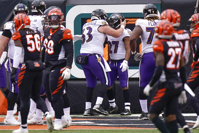 Baltimore Ravens running back J.K. Dobbins (27) celebrates with center Trystan Colon-Castillo (63) after scoring a touchdown against the Cincinnati Bengals during the second half of an NFL football game, Sunday, Jan. 3, 2021, in Cincinnati. (AP Photo/Bryan Woolston)
