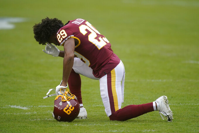 Washington Football Team cornerback Kendall Fuller (29) on the field before the start of an NFL football game against the Dallas Cowboys, Sunday, Oct. 25, 2020, in Landover, Md. (AP Photo/Al Drago)