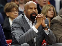 FILE - In this Wednesday, April 16, 2014, file photo, then-New York Knicks head coach Mike Woodson watches his team play during the first half of an NBA basketball game against the Toronto Raptors, in New York. Indiana will hire former star player and longtime NBA coach Mike Woodson as its new head coach. A person with knowledge of the decision confirmed the hiring to The Associated Press on Sunday, March 28, 2021. (AP Photo/Frank Franklin II, File)