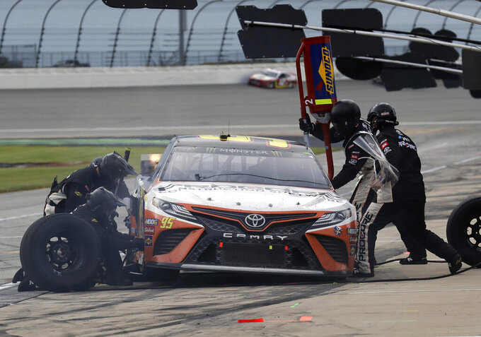 Matt DiBenedetto makes a pit stop during a NASCAR Cup Series auto race at Chicagoland Speedway in Joliet, Ill., Sunday, June 30, 2019. (AP Photo/Nam Y. Huh)