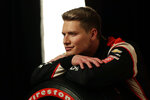 IndyCar driver Josef Newgarden poses for photos during IndyCar Media Day, Monday, Feb. 10, 2020, in Austin, Texas. (AP Photo/Eric Gay)