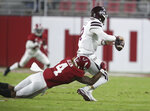 Alabama linebacker Christopher Allen (4) sacks Mississippi State quarterback Will Rogers (2) for a loss during an NCAA college football game in Tuscaloosa, Ala., Saturday, Oct. 31, 2020. (Gary Cosby Jr./The Tuscaloosa News via AP)