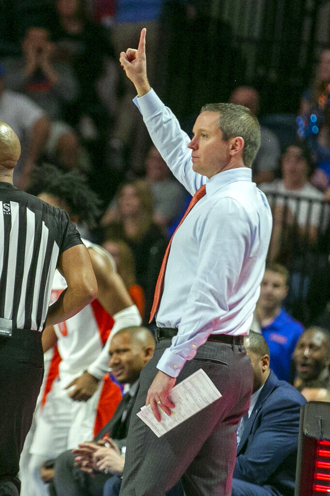 Florida head coach Mike White directs his team during the first half of an NCAA college basketball game against Kentucky, Saturday, March 7, 2020, in Gainesville, Fla. (AP Photo/Alan Youngblood)