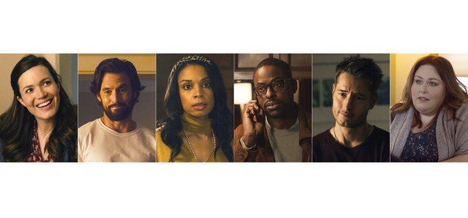 """This combination of images released by NBC shows cast members of """"This is Us,"""" from left, Mandy Moore, Milo Ventimiglia, Susan Kelechi Watson, Sterling K. Brown, Justin Hartley and Chrissy Metz. """"This Is Us"""" will air its sixth and final season. (NBC via AP)"""