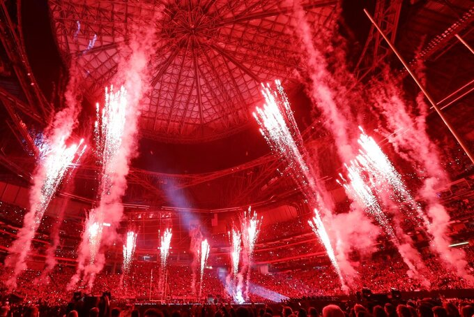 Fireworks go off during halftime of the NFL Super Bowl 53 football game between the Los Angeles Rams and the New England Patriots Sunday, Feb. 3, 2019, in Atlanta. (AP Photo/Frank Franklin II)