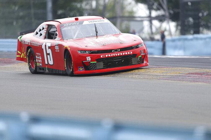 Colby Howard drives between Turn 1 and the Esses in the NASCAR Xfinity Series auto race at Watkins Glen International in Watkins Glen, N.Y., on Saturday, Aug. 7, 2021. (AP Photo/Joshua Bessex)