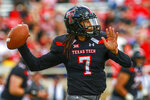 Texas Tech's Jett Duffey (7) passes the ball during an NCAA college football game against Lamar, Saturday, Sept. 8, 2018, in Lubbock, Texas. (John Moore/Lubbock Avalanche-Journal via AP)