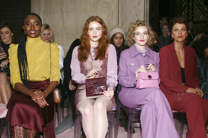 Kiki Layne, from left, Sadie Sink, Julia Garner and Maggie Gyllenhaal attend the NYFW Fall/Winter 2019 Kate Spade fashion show at the Cipriani's on Friday, Feb. 8, 2019, in New York. (Photo by Andy Kropa/Invision/AP)