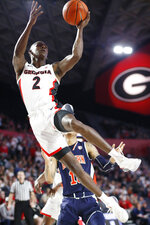 Georgia guard Jordan Harris (2) shoots against Auburn during an NCAA college basketball game Wednesday, Feb. 27, 2019, in Athens, Ga. (Joshua L. Jones/Athens Banner-Herald via AP)