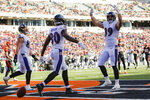 Baltimore Ravens tight end Mark Andrews (89) celebrates his touchdown during the first half of NFL football game against the Cincinnati Bengals, Sunday, Nov. 10, 2019, in Cincinnati. (AP Photo/Frank Victores)