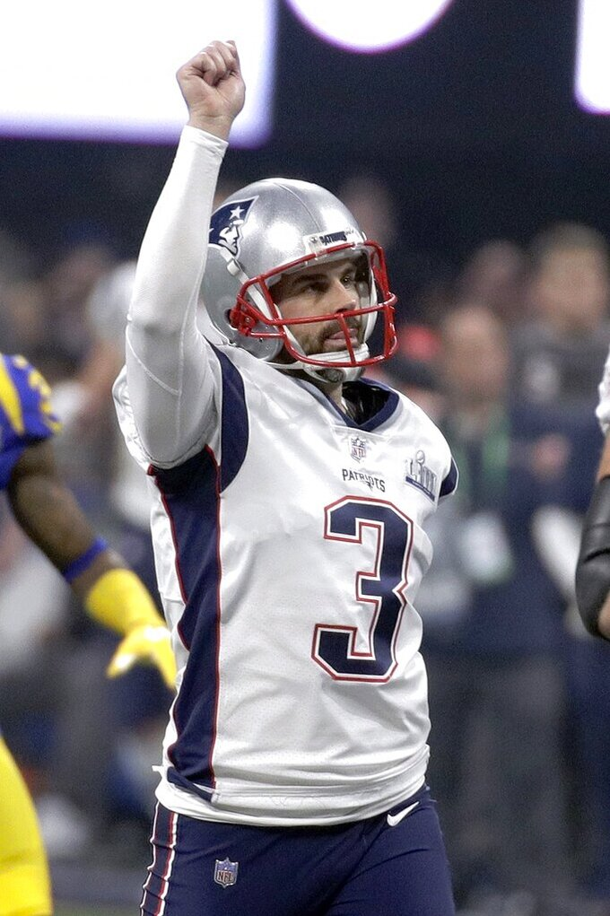 New England Patriots' Stephen Gostkowski celebrates his field goal against the Los Angeles Rams during the second half of the NFL Super Bowl 53 football game Sunday, Feb. 3, 2019, in Atlanta. (AP Photo/Patrick Semansky)