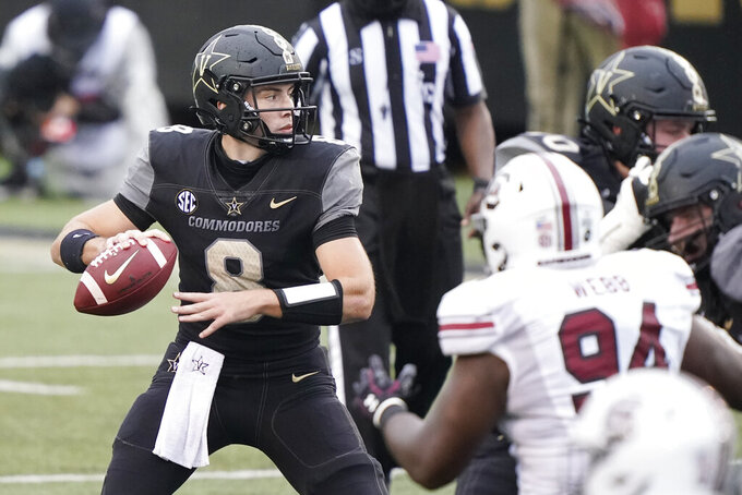 Vanderbilt quarterback Ken Seals (8) passes against South Carolina in the second half of an NCAA college football game Saturday, Oct. 10, 2020, in Nashville, Tenn. South Carolina won 41-7. (AP Photo/Mark Humphrey)