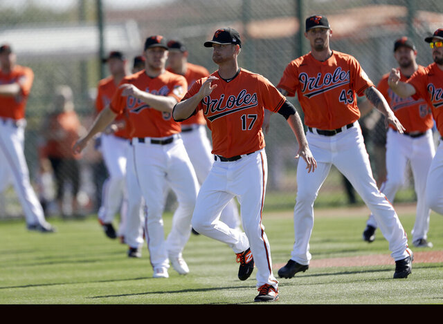 Baltimore Orioles starting pitcher Alex Cobb (17) and relief pitcher Shawn Armstrong (43) and other pitchers warm up during spring training baseball, Saturday, Feb. 15, 2020, in Sarasota, Fla. (AP Photo/John Bazemore)