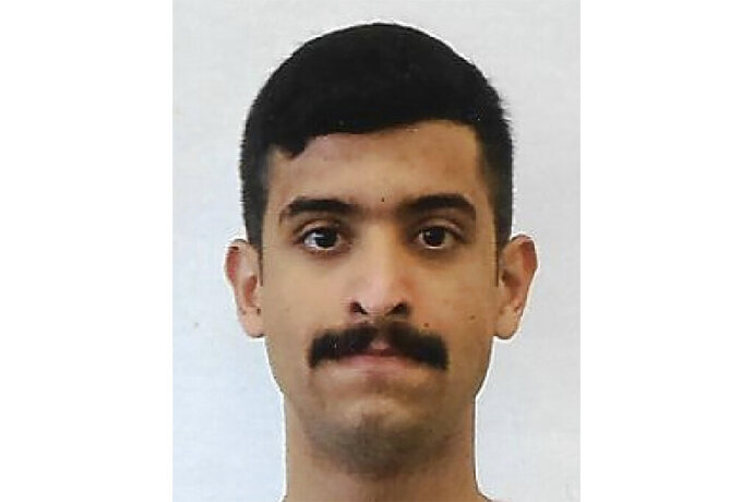 This undated photo provided by the FBI shows Mohammed Alshamrani. The Saudi student opened fire inside a classroom at Naval Air Station Pensacola on Friday before one of the deputies killed him. The FBI has found a link between the gunman in a deadly attack at a military base last December and an al-Qaida operative. That's according to a U.S. official who spoke to The Associated Press on Monday. (FBI via AP)
