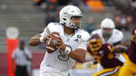 FILE - In a Saturday, Oct. 5, 2019 file photo, Eastern Michigan quarterback Mike Glass III looks to throw against Central Michigan during an NCAA football game in Mount Pleasant, Mich. Pittsburgh and Eastern Michigan will meet in the Quick Lane Bowl, on Dec. 26, 2019, hoping to end postseason droughts.  (AP Photo/Al Goldis, File)