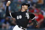 Chicago White Sox's Dylan Covey pitches against the Los Angeles Angels during the first inning of a baseball game Saturday, Sept. 7, 2019, in Chicago. (AP Photo/Jim Young)
