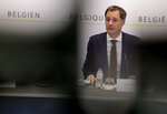 Belgium's Prime Minister Alexander De Croo speaks during a news conference following a government meeting on the coronavirus, COVID-19, in Brussels, Friday, Nov. 27, 2020. (AP Photo/Olivier Matthys, Pool)