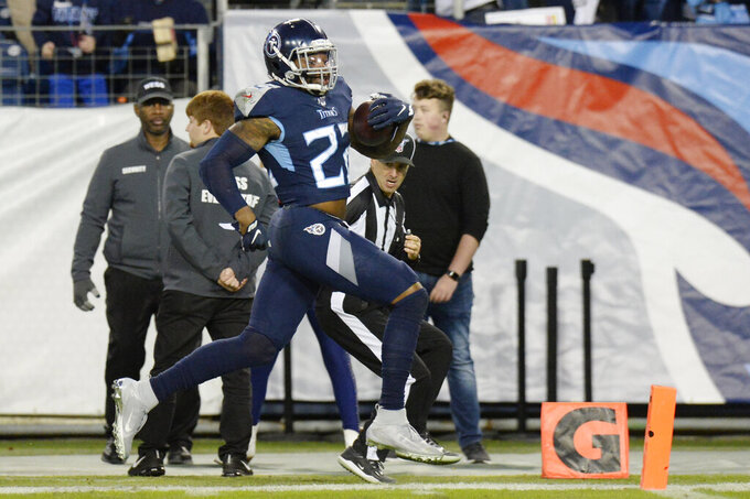 Tennessee Titans running back Derrick Henry scores a touchdown on a 74-yard run against the Jacksonville Jaguars in the second half of an NFL football game Sunday, Nov. 24, 2019, in Nashville, Tenn. (AP Photo/Mark Zaleski)