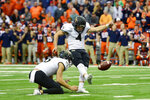 FILE - In this Nov. 30, 2019, file photo, Wake Forest kicker Nick Sciba (4) kicks a field goal to tie the game against Syracuse as time runs out in the second half of an NCAA college football game, in Syracuse, N.Y. Sciba was selected to The Associated Press All-Atlantic Coast Conference football team, Tuesday, Dec. 10, 2019. (AP Photo/Adrian Kraus, File)