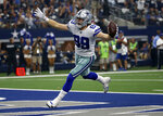 Dallas Cowboys tight end Blake Jarwin (89) celebrates catching a pass for a touchdown in the first half of a NFL football game against he New York Giants in Arlington, Texas, Sunday, Sept. 8, 2019. (AP Photo/Ron Jenkins)