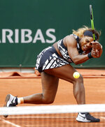 FILE - In this May 27, 2019, file photo, Serena Williams plays a shot against Vitalia Diatchenko of Russia during their first round match of the French Open tennis tournament at Roland Garros stadium in Paris. (AP Photo/Pavel Golovkin)