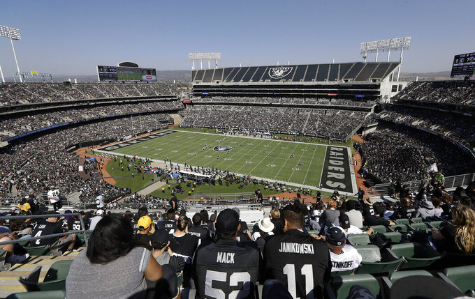 FILE - In this Oct. 8, 2017, file photo, fans watch during the first half of an NFL football game between the Oakland Raiders and the Baltimore Ravens at Oakland Alameda County Coliseum in Oakland, Calif. A lease agreement to keep the Raiders in Oakland for at least one more season will be voted on this week. The Coliseum Authority has scheduled a vote for Friday, March 15, 2019, on a lease with the Raiders for 2019 with an option for 2020.  (AP Photo/Marcio Jose Sanchez, File)