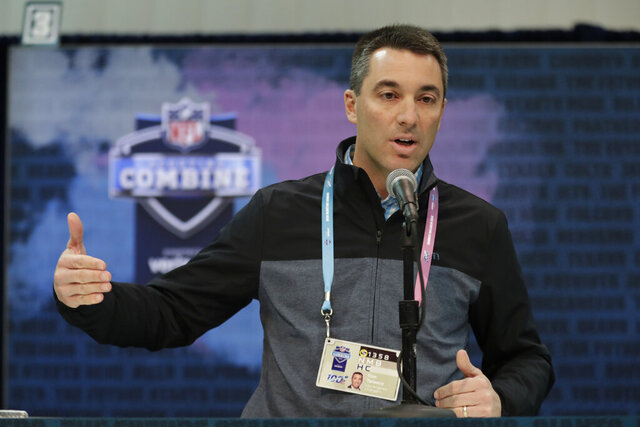 FILE - In this Feb. 28, 2019, file photo, Los Angeles Chargers general manager Tom Telesco speaks during a news conference at the NFL football scouting combine in Indianapolis. Telesco hasn't given a timetable on when he expects to hire a coach, but did say he would be patient if their preferred candidate was on a team that advanced to the Super Bowl. (AP Photo/Michael Conroy, File)