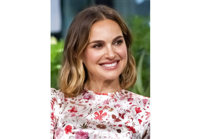 """FILE - Natalie Portman participates in the BUILD Speaker Series to discuss the film """"Lucy in the Sky""""  on Oct. 2, 2019, in New York.The Oscar-winning actress has agreed to serve as honorary chair of National Library Week, the American Library Association announced Monday. National Library Week will run next April 4-10, and Portman will help promote the role libraries have played in their communities during the pandemic. (Photo by Charles Sykes/Invision/AP, File)"""